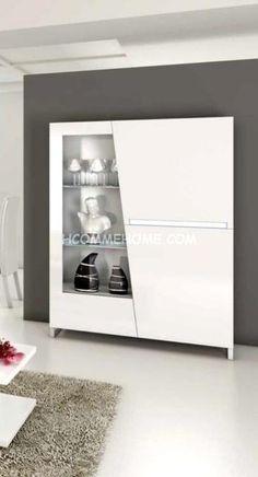 Argentier / Vaisselier design laqué blanc 2 portes LIZEA