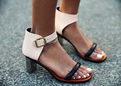 Business and fashionable are always a win. Ankle straps, black and cream shoes, sandals, heels. so cute! #personalbrand #accessories  www.cynthiawhiteandassociates.com