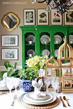 mirror & pictures on left wall - Easter, Spring Table Setting Ideas, Easter Tablescape