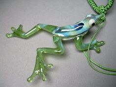 Hand blown hand made Glass Frog Pendant Necklace by Glassnfire, $39.00