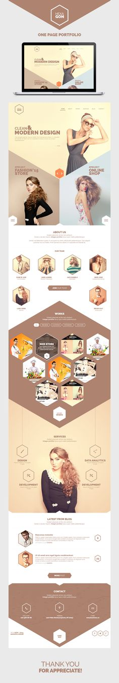 Hexagon - One Page Portfolio (Free PSD) on Behance