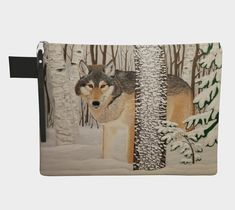 Lone Wolf / carry-all zippered case / tech case / zipper pull / nature animal timber wolves winter landscape Baby Wolves, Red Wolves, Deer Hunting Blinds, Timber Wolf, Bull Riding, Wolf Howling, Archery Hunting, Lone Wolf, Doberman Pinscher