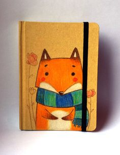 """Little cute fox note book!!! - Only the """"big"""" one is now available! by rosariabattiloro on Etsy https://www.etsy.com/listing/220090853/little-cute-fox-note-book-only-the-big"""