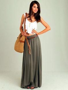 Every time I wear a Maxi skirt I look like a morman... I wish I could rock one like this chick