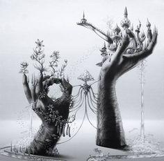 magic hands surreal illustration landscape via eyesofodysseus