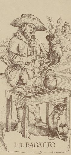 "I. The Magician: Dürer Tarot [Monkey (baboon) under the table, saturno hat and eggs of the Gods, fixer of ""soles""]"