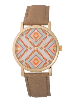 watch with ethnic print face and faux leather band