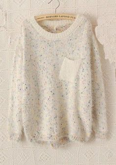 beige polka dot round neck bat sleeve sweater