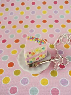 Confetti Cake Necklace Polymer Clay Miniature by MyMiniMunchies, Made in the USA.. Yummy yummy inedible jewelry. Food Jewelry. Fimo