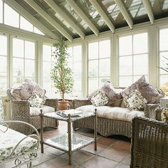 A delicate palette of pinks, greens and terracotta floor tiles help this Victorian conservatory blend into its natural environment Edwardian Conservatory, Conservatory Ideas, Wicker Furniture, Outdoor Furniture Sets, Outdoor Decor, Terracotta Floor, Historic Homes, Ideal Home, Image Search