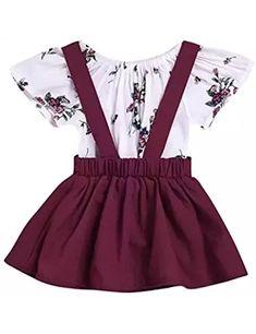 2Pcs Infant Toddler Baby Girls Summer Boho Floral Rompers Jumpsuit Strap Skirt Overall Dress Outfits Set #toddlerOverallsgirl #toddlerskirtoutfit #toddlerskirts