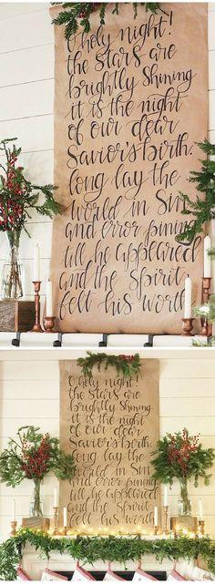O Holy Night Christmas scroll hand-written on Kraft paper, Christmas decor, Christmas wall art, Rustic Christmas, Christmas songs, Christmas sign #ad