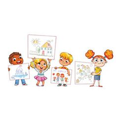 Cute kids show their drawings drawn vector Sheep Vector, Cow Vector, Vector Free, Evil Cartoon Characters, Back To School Funny, Daily Routine Activities, Butterfly Life Cycle, Gold Picture Frames, Jumping For Joy
