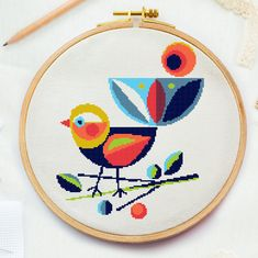 Excited to share this item from my shop: Modern bird Cross stitch pattern, animal geometric embroidery pattern, nature vintage xstitch pattern, floral funny counted cross stitch Cross Stitch Geometric, Funny Cross Stitch Patterns, Geometric Embroidery, Small Cross Stitch, Cross Stitch Bird, Cross Stitch Animals, Cross Stitch Designs, Cross Stitching, Cross Stitch Embroidery