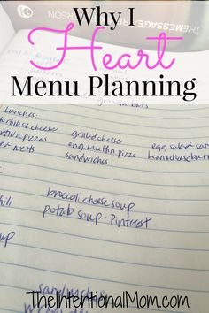 """Wondering why I heart menu planning? Menu planning saves you money, stress, and time while also bringing an end to the question, """"What's for dinner, mom?!"""""""
