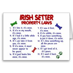 IRISH SETTER Property Laws 2 Greeting Card