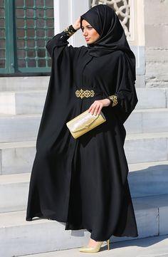 Abaya Fashion, Muslim Fashion, Modest Fashion, Fashion Outfits, Mode Abaya, Mode Hijab, Hijab Dress, Hijab Outfit, Black Abaya