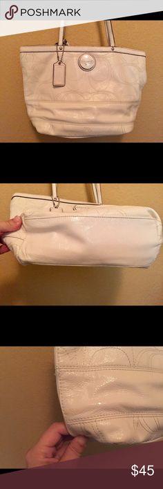 White Patent Leather Coach Diaper Bag