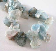 #Aquamarine #Tiffanyblue Beads  Raw Rough Rock  Chunky Nugget by BijiBijoux