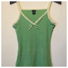 Fang Tank Top Pretty green tank top with yellow lace and sequin trim and decorative slits at side. Fang Tops Tank Tops