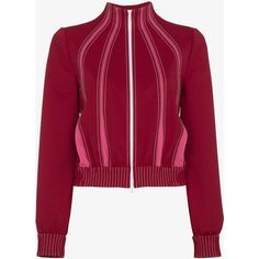 Valentino Techno contrast stitched track jacket (9.350 DKK) ❤ liked on Polyvore featuring activewear, activewear jackets, long sleeve activewear, tracksuit jacket, track top, warm up jackets and track jacket