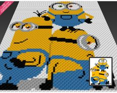 Three Minions is a graph pattern that can be used to crochet a blanket using (Corner to Corner), TSS (Tunisian Simple Stitch) and other techniques. Graph Crochet, Minion Crochet, Pixel Crochet, Granny Square Crochet Pattern, Crochet Stitches Patterns, Crochet Squares, Cross Stitch Patterns, Crochet Granny, Granny Squares