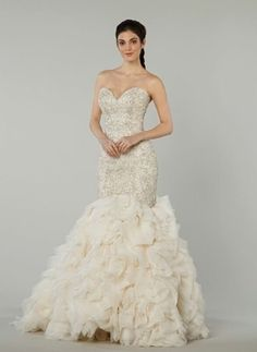 Sweetheart Mermaid Wedding Dress  with Dropped Waist in Beaded Embroidery. Bridal Gown Style Number:33083387