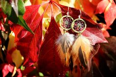 Bright Green And Orange Dream Catcher Earrings by nZuriArtDesigns
