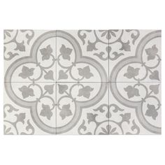 Ivy Hill Tile Sintra Silver Ornate Encaustic 9 in. x 9 in. x Mate Porcelain Floor and Wall Tile pieces / sq. / - The Home Depot Tiles R Us, Wall Tiles, Patchwork Tiles, Mediterranean Design, Encaustic Tile, Commercial Flooring, Porcelain Tile, Tile Floor, Silver