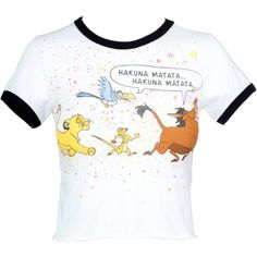 Amazon.com: Mighty Fine Disney's The Lion King Hakuna Matata Comic... ($20) ❤ liked on Polyvore featuring tops, t-shirts, cartoon character t shirts, lion print t shirt, white lion t shirt, cut-out crop tops and cartoon t shirts