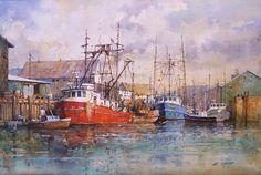 "Ian Ramsay Watercolors Fishing Boats, Elliot Bay, Washington 12"" x 18"" watercolor available at Trailside Galleries, Scottsdale, Arizona"