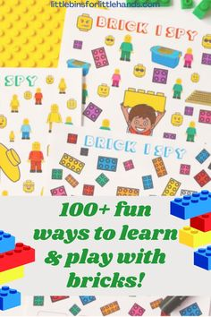 Are you looking for fun and creative ways to play with you Legos? This brick building pack from Little Bins is all about how to play and learn with your legos or other bricks. A perfect solution for rainy days, you'll love all of these fun activities for your kids on rainy days or long days spent inside. These are great ways to have fun both at home and in the classroom! Kids Wedding Activities, Thanksgiving Activities For Kids, Outdoor Activities For Kids, Craft Activities For Kids, Kids Crafts, Early Learning Activities, Lego Activities, Lego Math, Lego Books