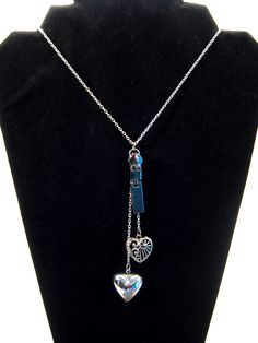 Heart charm lariat necklace, silver tone, recycled zipper. $19.00, via Etsy.
