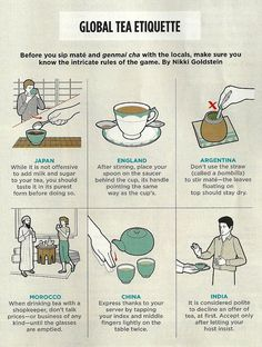 """Global Tea Etiquette from """"The Traveler's Guide to Tea"""" featured in Travel + Leisure's MAY 2012 issue."""
