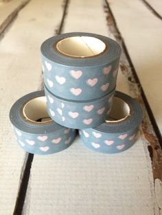Grey Pink Hearts Washi Tape by LaliPlans on Etsy
