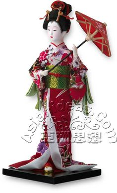 "Today's Feature Product : Japanese Geisha Dolls w Parasol    This geisha Japanese doll, wearing a traditional red and white kimono and carrying a paper parasol, is a beautiful reminder of a long lost time!  In Japanese, the word ""gei"" translates to arts or performance, while ""sha"" means people.     http://www.asianideas.com/jagedowum1.html"