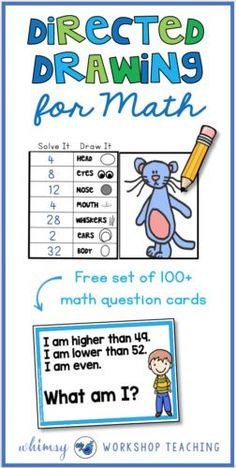 Directed Drawing for MATH is a great way to REVIEW and REINFORCE any math topic from the year! Get started with this free pack - it includes over 100 math task cards with answers on the back. (free download)