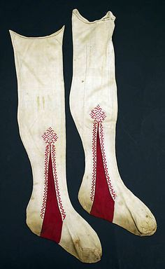 Stockings  Date: early 19th century Culture: Italian Medium: silk Dimensions: Length: 25 in. (63.5 cm) Credit Line: Rogers Fund, 1926 Accession Number: 26.56.119. Stunning. Possibly woven. Certainly cut and sewn.