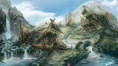 village fantasy deviantart mountain drawing mountains google