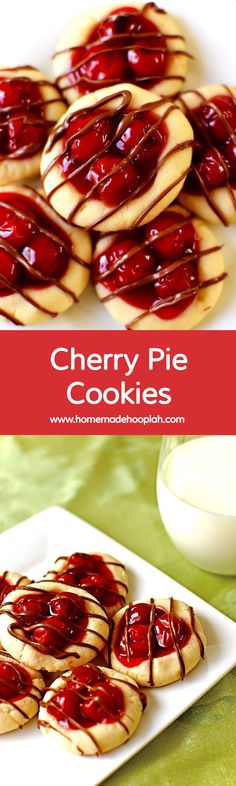 Cherry Pie Cookies! The taste of cherry pie without all the fuss! Cherry pie filling nestled in a buttery cookie and drizzled with milk chocolate. Festive and delicious! | HomemadeHooplah.com