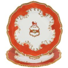 Set of Chamberlain's Worcester and Tiffany Armorial Dishes | From a unique collection of antique and modern dinner plates at https://www.1stdibs.com/furniture/dining-entertaining/dinner-plates/