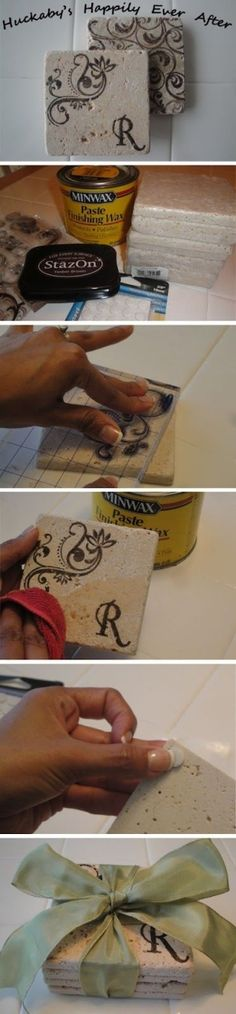 Cheap and Easy Stamped Coasters made from affordable Bathroom Tiles. by abbyy