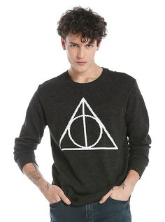 Harry Potter Deathly Hallows Sweater, BLACK