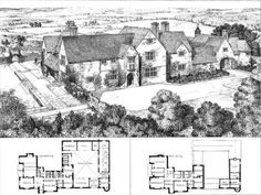 1905 – Coldicote, Worcestershire Architect: E. Guy Dawber Sadly, its so small you cant actually see it. Vintage House Plans, Country House Plans, Courtyard House Plans, House Floor Plans, Historical Architecture, Architecture Plan, Classical Architecture, The Sims, Sims 4