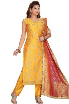 This yellow chanderi silk trouser suit will definitely make other's envious of your look. This round neck and sleeveless party wear suit beautified with zari work. Available with chanderi silk cigarette pant in yellow color with multi color silk dupatta Cigarette pant has plain work. Dupatta elaborated using printed work. #trousersuit #salwarkameez #malaysia #Indianwear #Indiandresses #andaazfashion Anarkali, Churidar, Trouser Suits, Trousers, Différents Styles, Pantalon Cigarette, Plus Size Boutique, Salwar Kameez Online, Silk Dupatta
