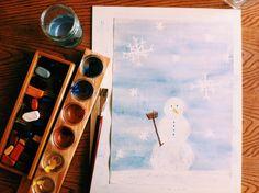 Schilderen over krijt heen. Sneeuwman