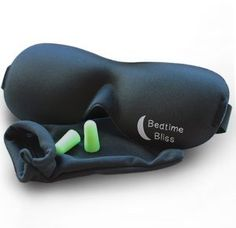 Sleep Mask by Bedtime Bliss® - Contoured & Comfortable With Moldex® Ear Plug Set. Includes Carry Pouch for Eye Mask and Ear Plugs - Great for Travel, Shift Work & Meditation (Black) - Healthy Products Library Bags Travel, Travel Gifts, Travel Stuff, Best Sleep Mask, Shift Work, Best Travel Accessories, Masked Man, Eye Contour, Ear Plugs