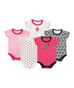Another great find on #zulily! Pink & Black Damask Bodysuit Set #zulilyfinds