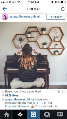 Honey comb shelves and piano