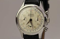 Wittnauer Stainless Steel Professional Chronograph Wristwatch circa 1950s | From a unique collection of vintage wrist watches at https://www.1stdibs.com/jewelry/watches/wrist-watches/